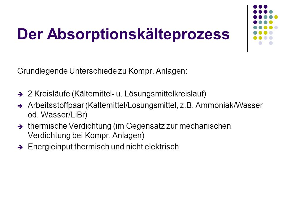 Der Absorptionskälteprozess