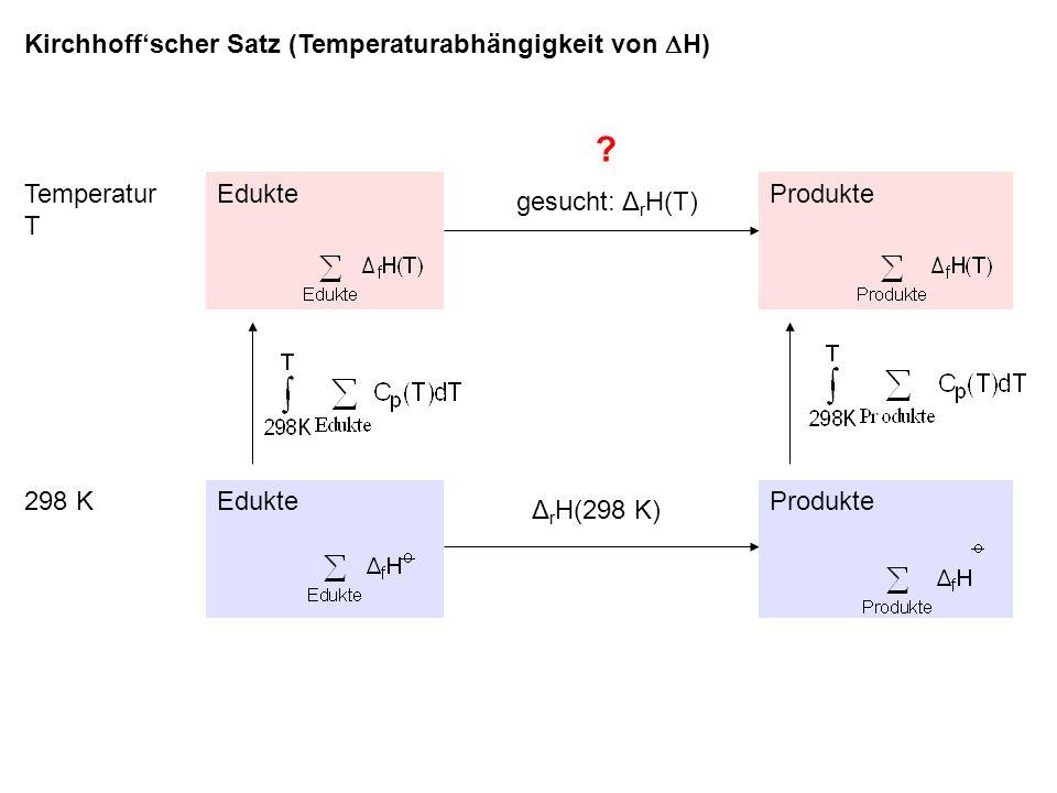 Kirchhoff'scher Satz (Temperaturabhängigkeit von H) gesucht: ΔrH(T)