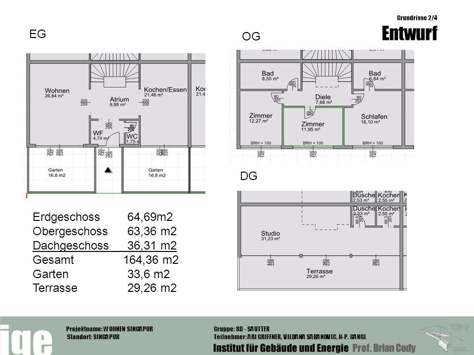 EG OG DG Erdgeschoss 64,69m2 Obergeschoss 63,36 m2