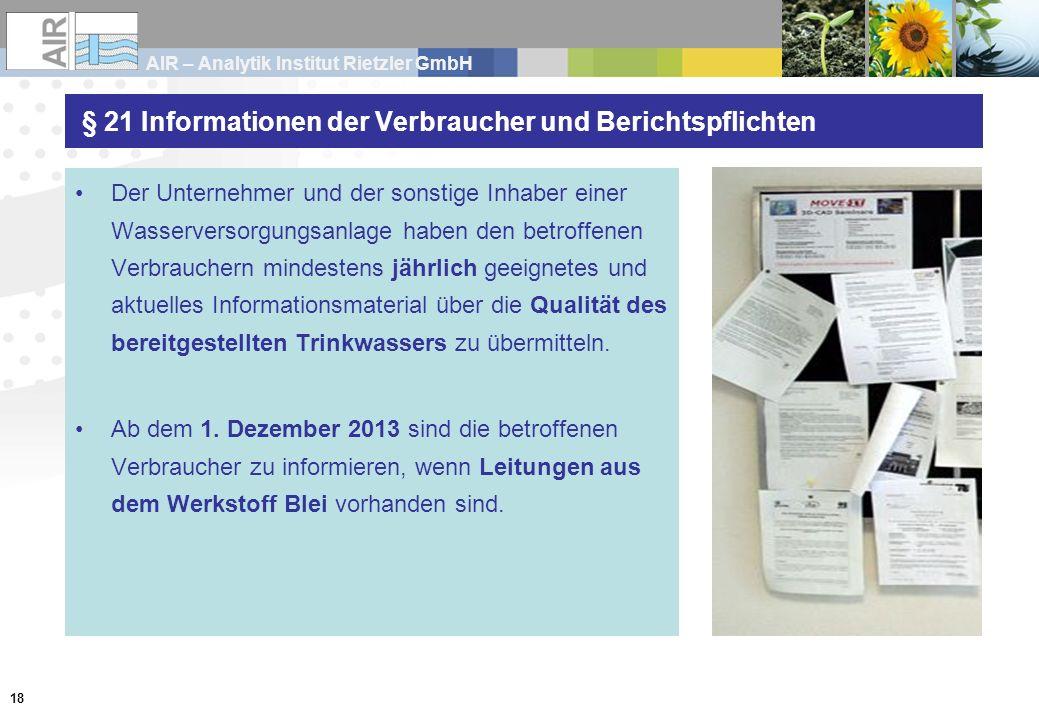 § 21 Informationen der Verbraucher und Berichtspflichten