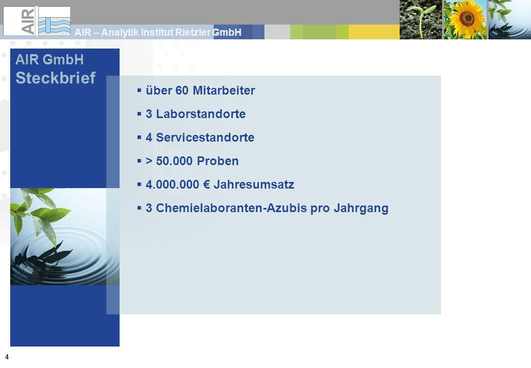 Steckbrief AIR GmbH über 60 Mitarbeiter 3 Laborstandorte