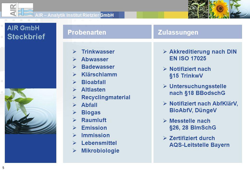 Steckbrief AIR GmbH Probenarten Zulassungen Trinkwasser Abwasser
