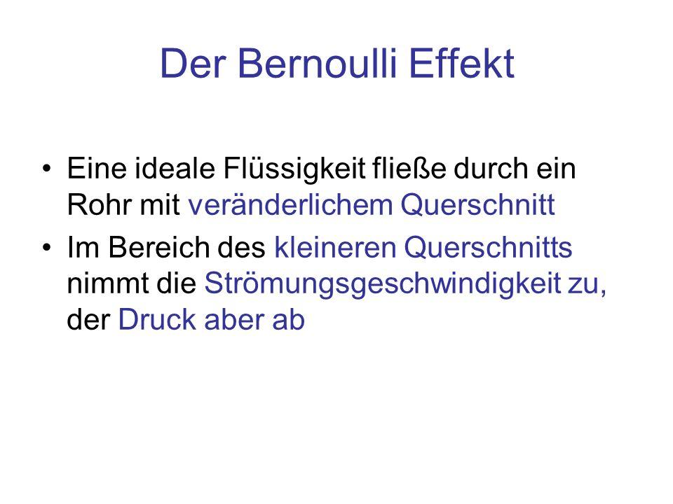 Der Bernoulli EffektEine ideale Flüssigkeit fließe durch ein Rohr mit veränderlichem Querschnitt.