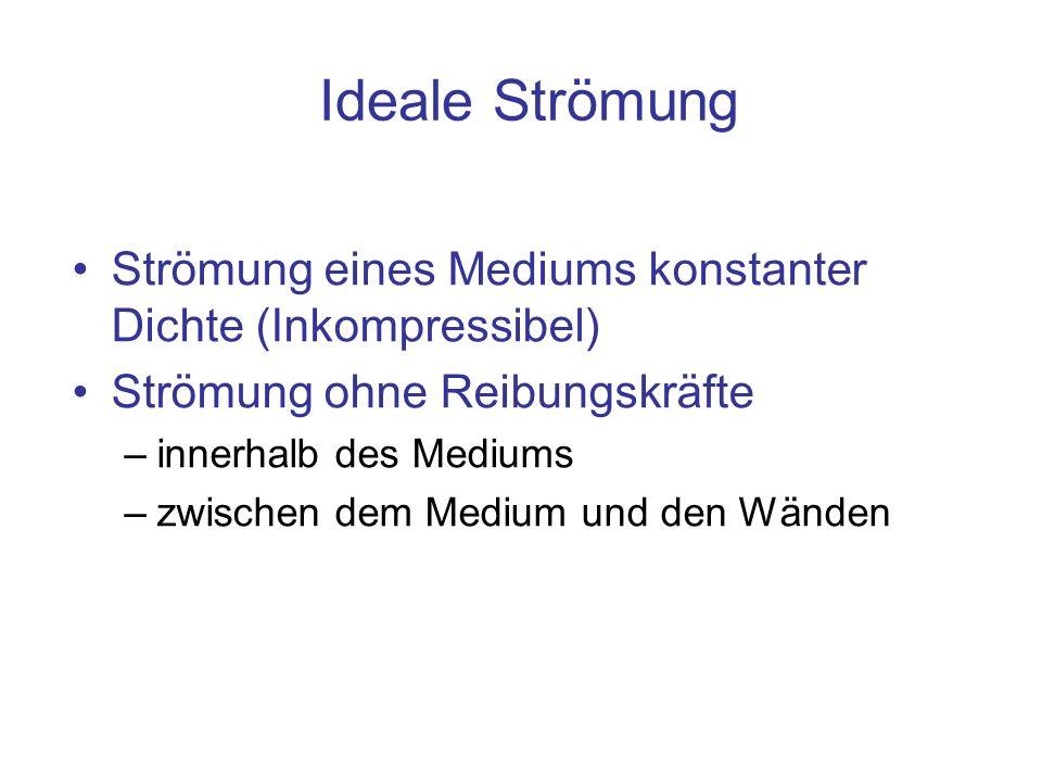 Ideale StrömungStrömung eines Mediums konstanter Dichte (Inkompressibel) Strömung ohne Reibungskräfte.