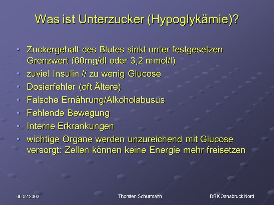Was ist Unterzucker (Hypoglykämie)
