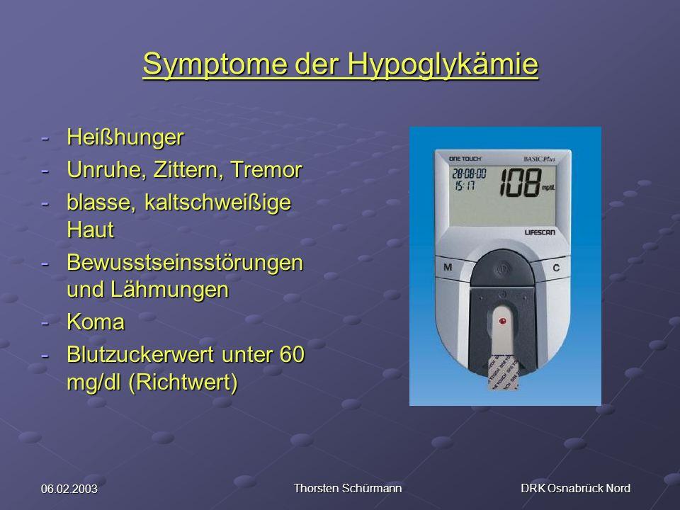 Symptome der Hypoglykämie
