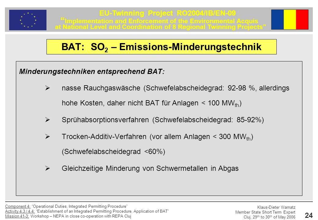 BAT: SO2 – Emissions-Minderungstechnik