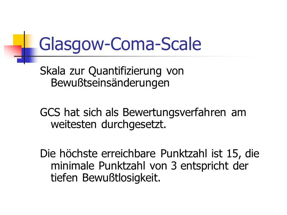 Glasgow-Coma-Scale Skala zur Quantifizierung von Bewußtseinsänderungen