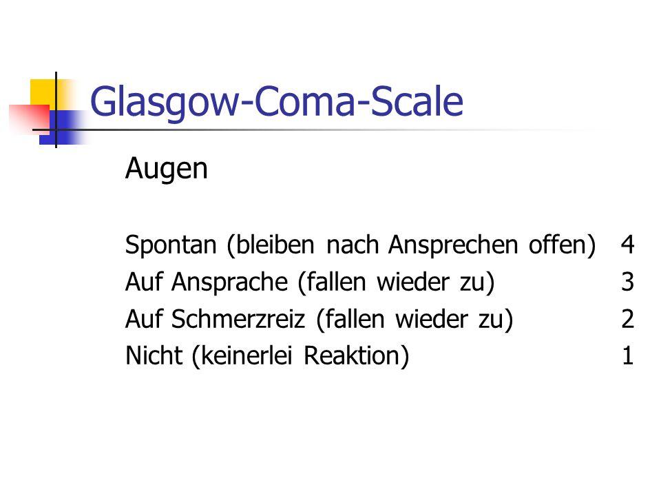 Glasgow-Coma-Scale Augen Spontan (bleiben nach Ansprechen offen) 4