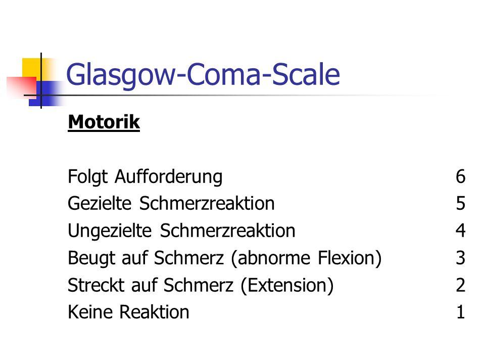 Glasgow-Coma-Scale Motorik Folgt Aufforderung 6