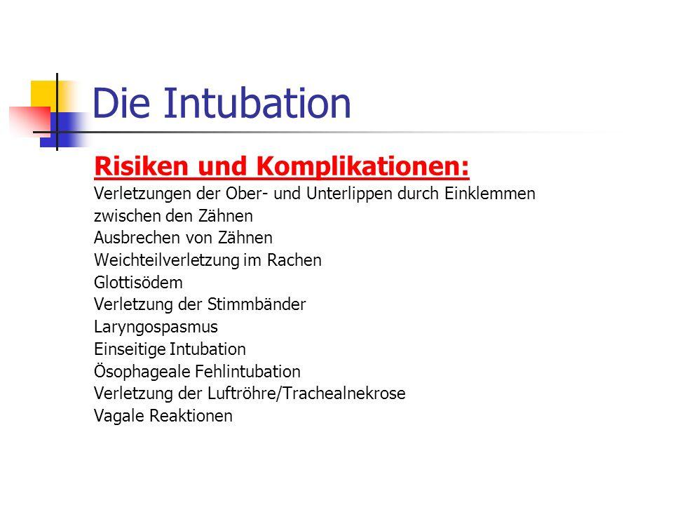 Die Intubation Risiken und Komplikationen: