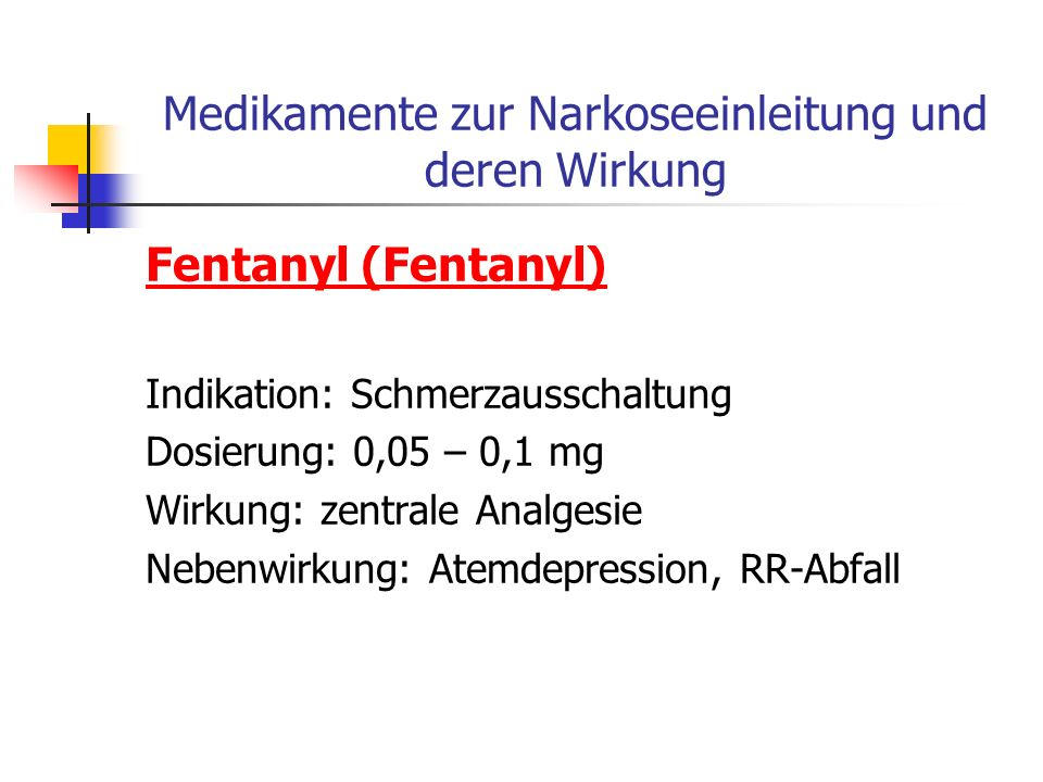 Medikamente zur Narkoseeinleitung und deren Wirkung