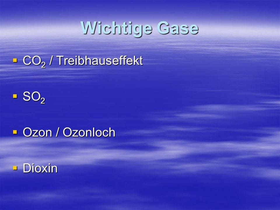 Wichtige Gase CO2 / Treibhauseffekt SO2 Ozon / Ozonloch Dioxin