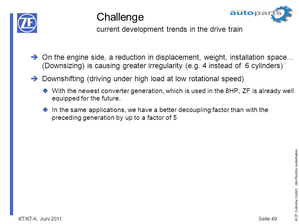Challenge current development trends in the drive train