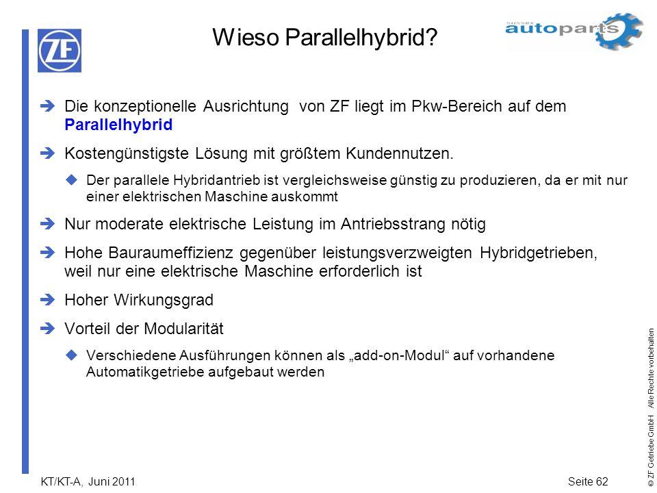 Wieso Parallelhybrid Die konzeptionelle Ausrichtung von ZF liegt im Pkw-Bereich auf dem Parallelhybrid.