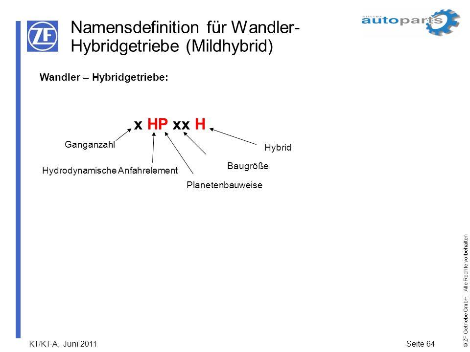Namensdefinition für Wandler-Hybridgetriebe (Mildhybrid)