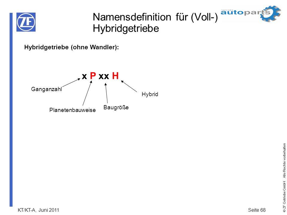 Namensdefinition für (Voll-) Hybridgetriebe