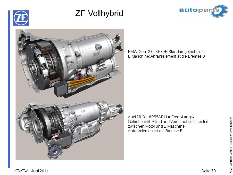 ZF Vollhybrid BMW Gen. 2.0: 8P70H Standardgetriebe mit E-Maschine; Anfahrelement ist die Bremse B.