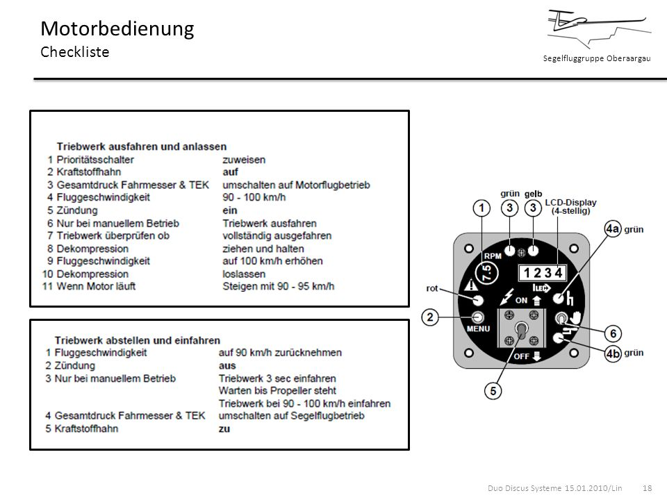 Motorbedienung Checkliste