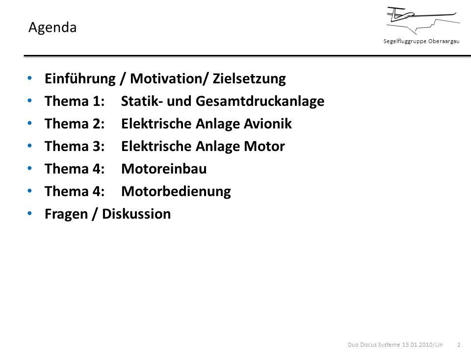 Agenda Einführung / Motivation/ Zielsetzung. Thema 1: Statik- und Gesamtdruckanlage. Thema 2: Elektrische Anlage Avionik.