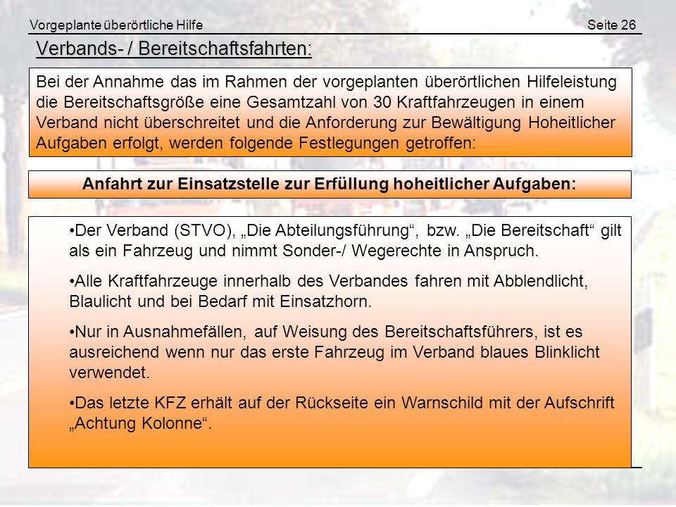 Verbands- / Bereitschaftsfahrten: