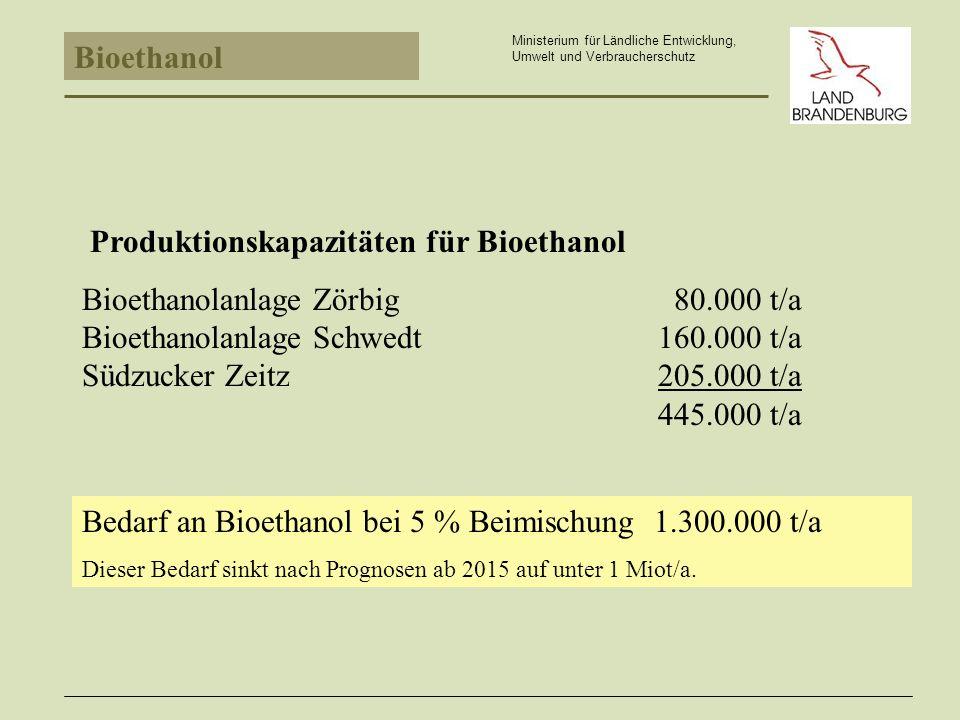 Produktionskapazitäten für Bioethanol