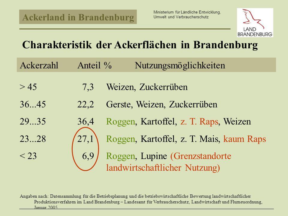 Charakteristik der Ackerflächen in Brandenburg