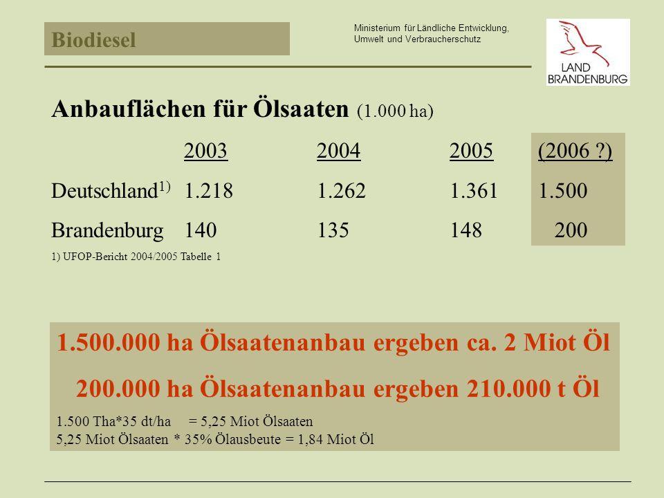 Anbauflächen für Ölsaaten (1.000 ha)