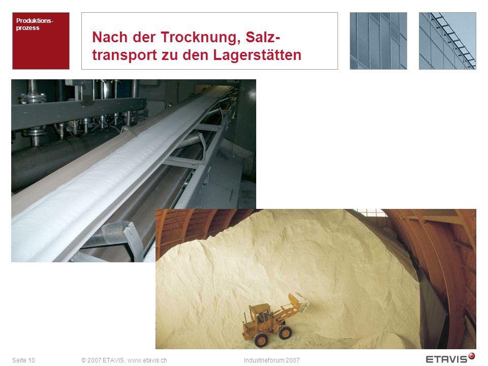 Nach der Trocknung, Salz-transport zu den Lagerstätten