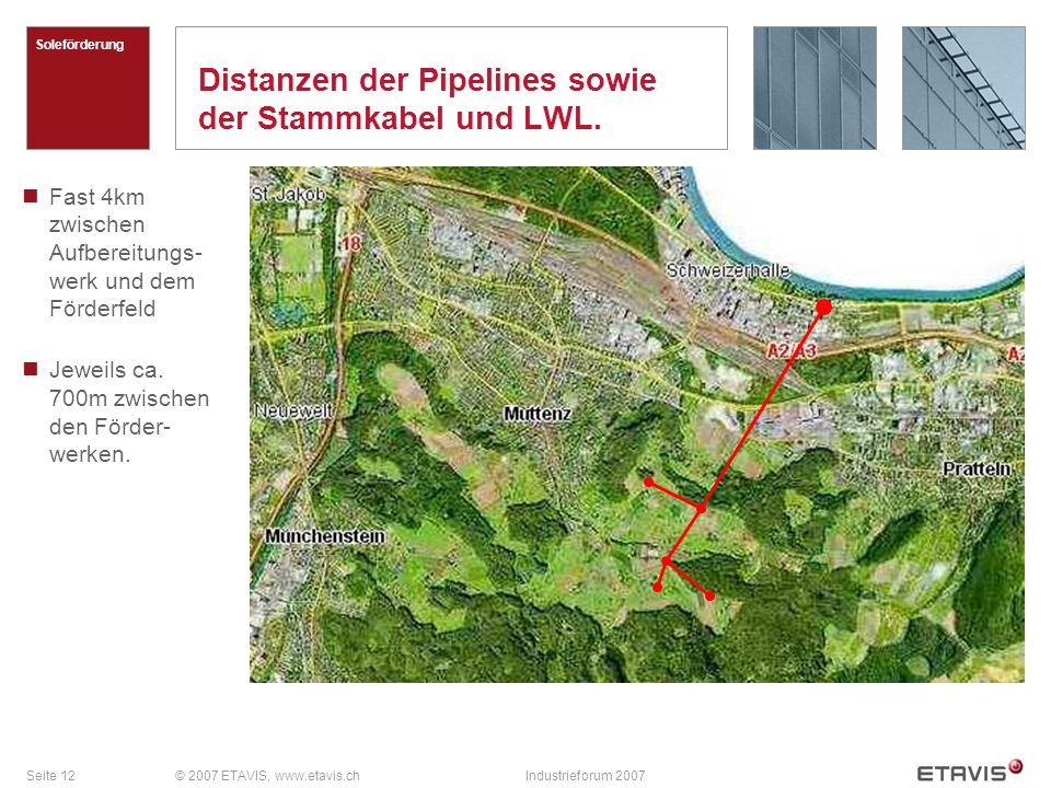Distanzen der Pipelines sowie der Stammkabel und LWL.