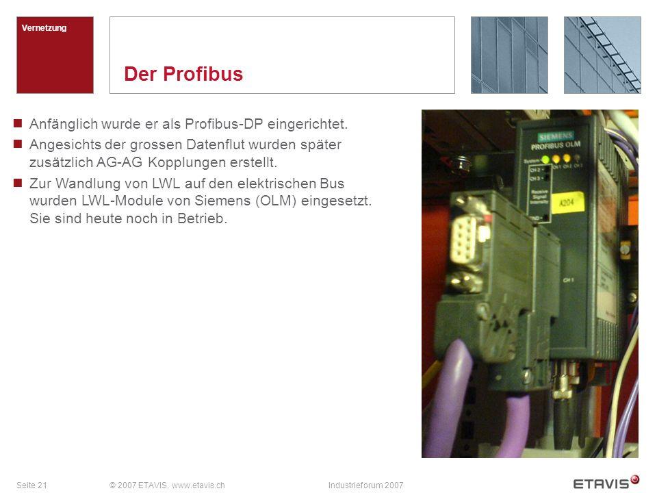 Der Profibus Anfänglich wurde er als Profibus-DP eingerichtet.