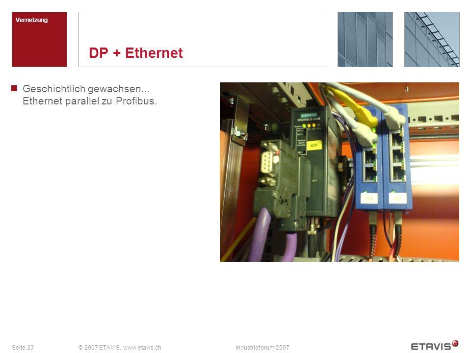 Vernetzung DP + Ethernet. Geschichtlich gewachsen... Ethernet parallel zu Profibus. © 2007 ETAVIS, www.etavis.ch.