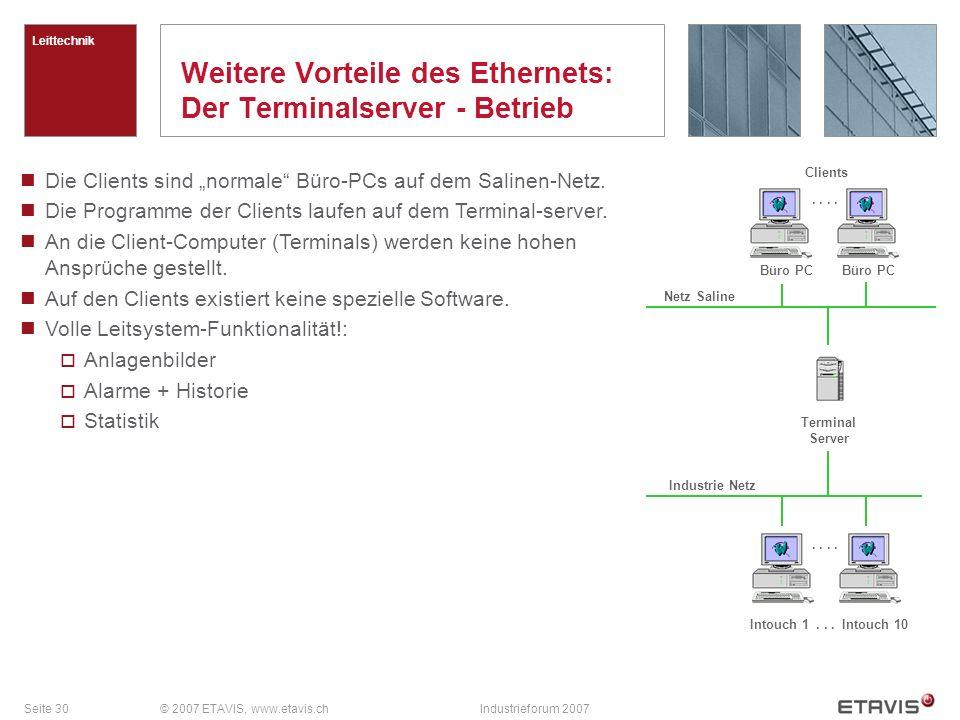 Weitere Vorteile des Ethernets: Der Terminalserver - Betrieb