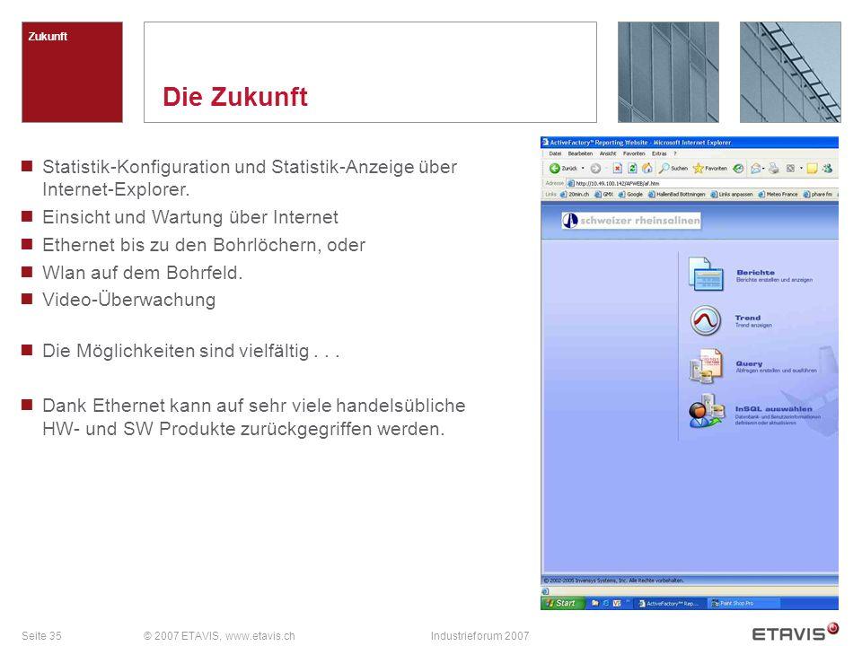 Zukunft Die Zukunft. Statistik-Konfiguration und Statistik-Anzeige über Internet-Explorer. Einsicht und Wartung über Internet.
