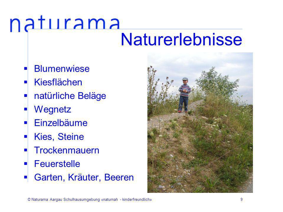 Naturerlebnisse Blumenwiese Kiesflächen natürliche Beläge Wegnetz