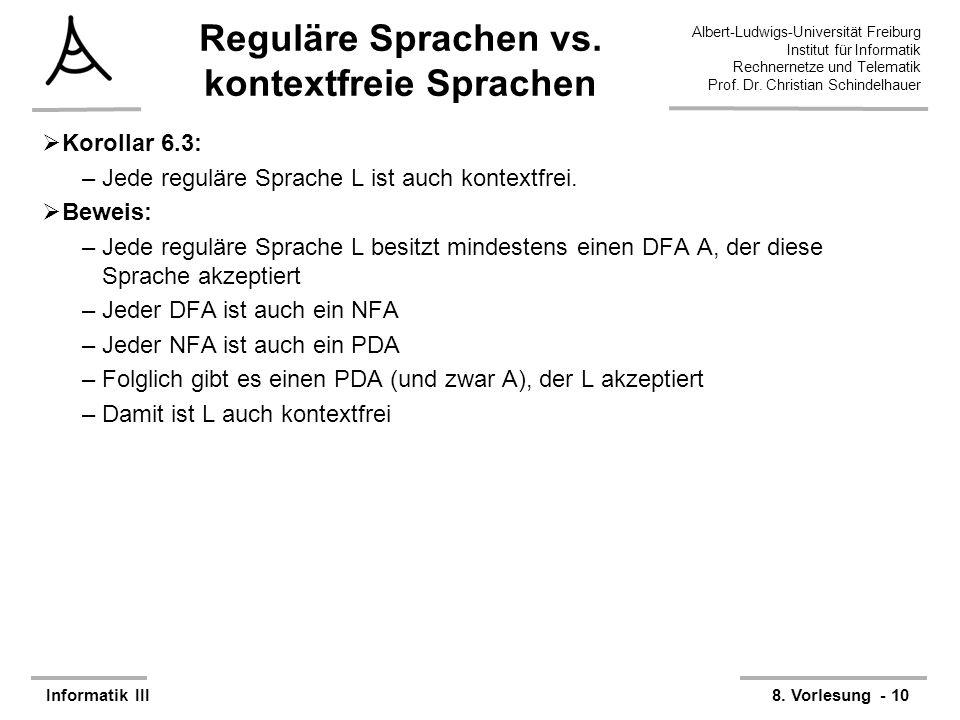 Reguläre Sprachen vs. kontextfreie Sprachen