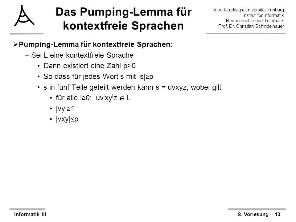 Das Pumping-Lemma für kontextfreie Sprachen