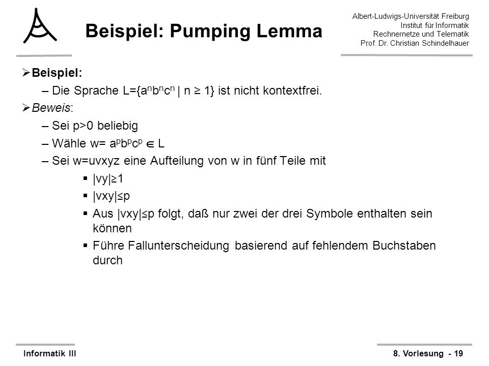Beispiel: Pumping Lemma