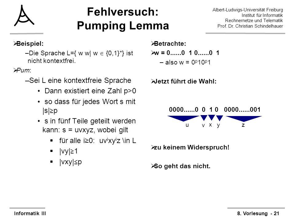 Fehlversuch: Pumping Lemma