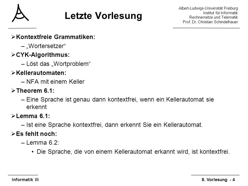 """Letzte Vorlesung Kontextfreie Grammatiken: """"Wortersetzer"""
