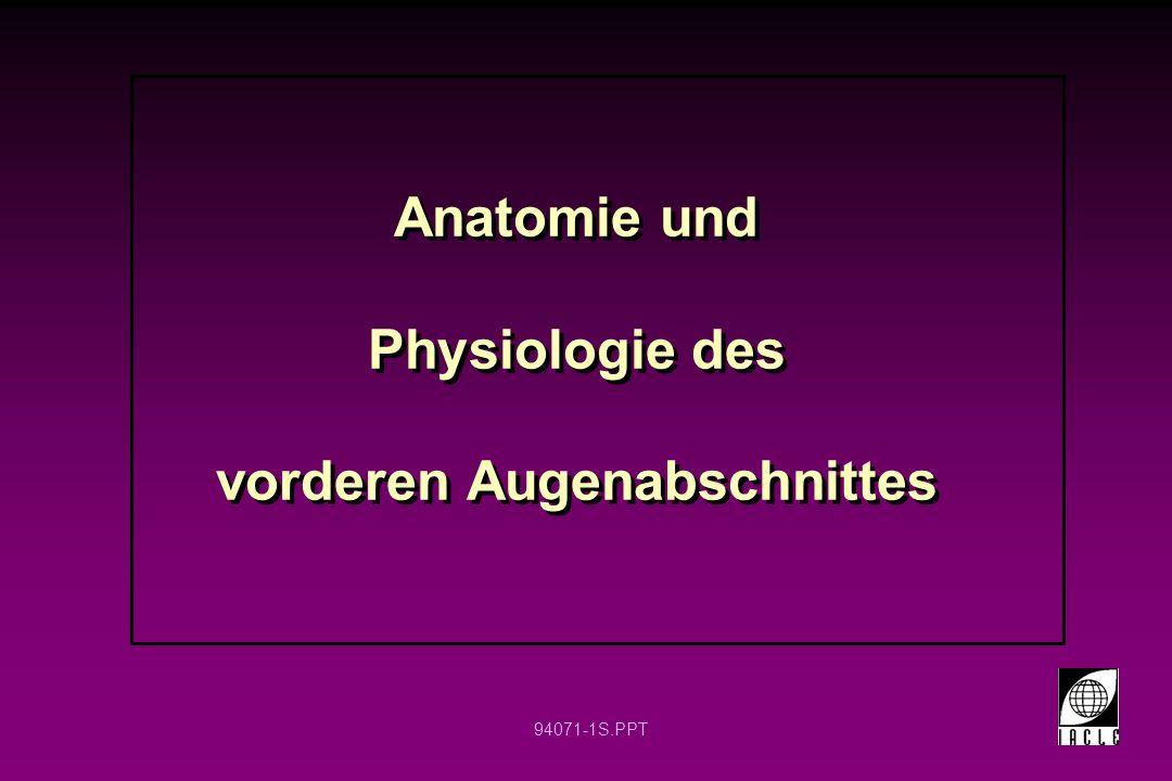 Anatomie und Physiologie des vorderen Augenabschnittes