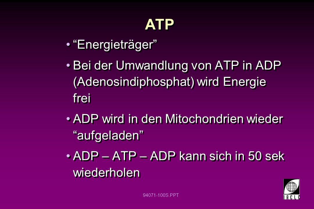 ATP Energieträger Bei der Umwandlung von ATP in ADP (Adenosindiphosphat) wird Energie frei. ADP wird in den Mitochondrien wieder aufgeladen