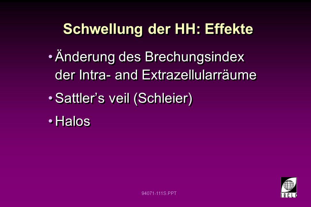 Schwellung der HH: Effekte
