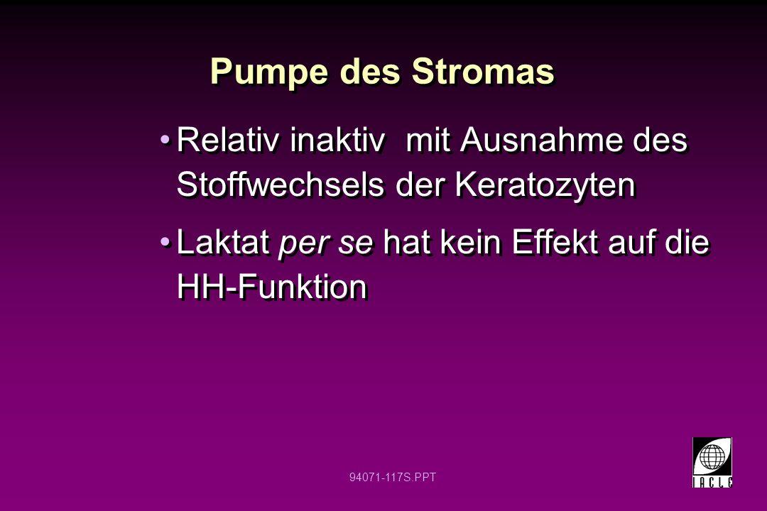 Pumpe des Stromas Relativ inaktiv mit Ausnahme des Stoffwechsels der Keratozyten. Laktat per se hat kein Effekt auf die HH-Funktion.