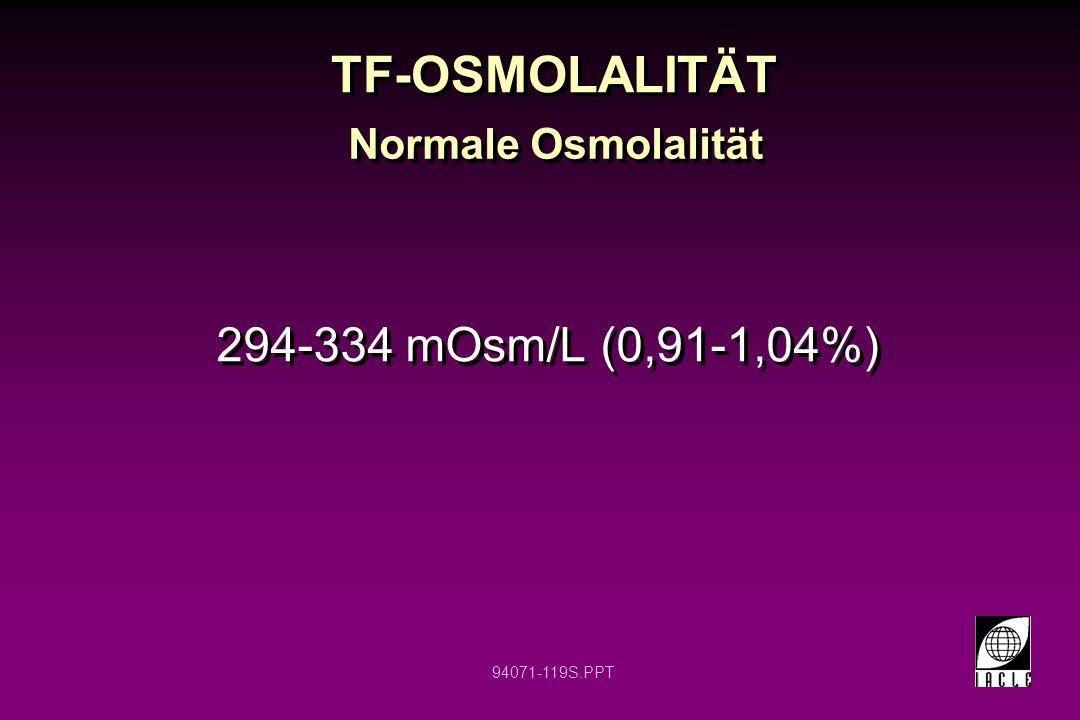 TF-OSMOLALITÄT Normale Osmolalität 294-334 mOsm/L (0,91-1,04%) 12 12