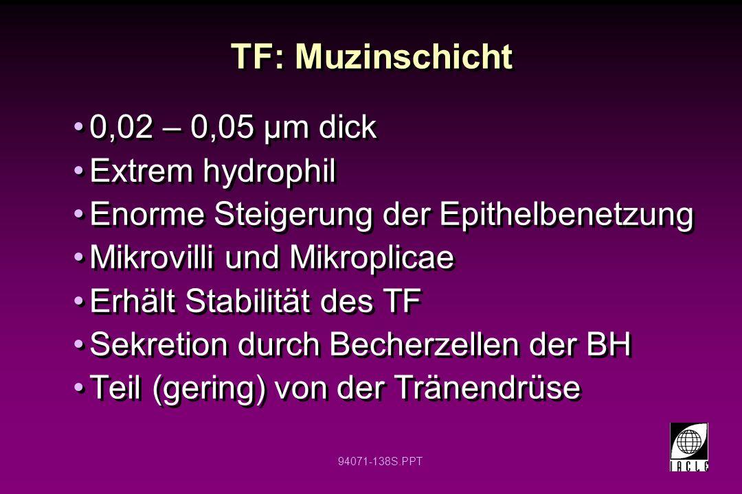 TF: Muzinschicht 0,02 – 0,05 µm dick Extrem hydrophil