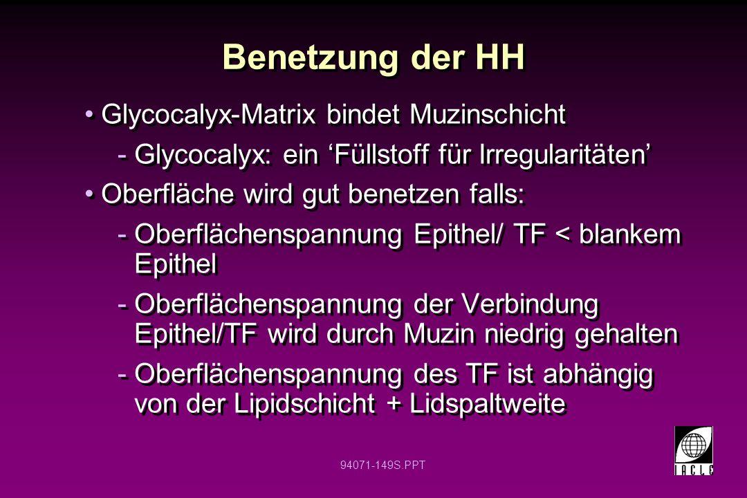 Benetzung der HH Glycocalyx-Matrix bindet Muzinschicht