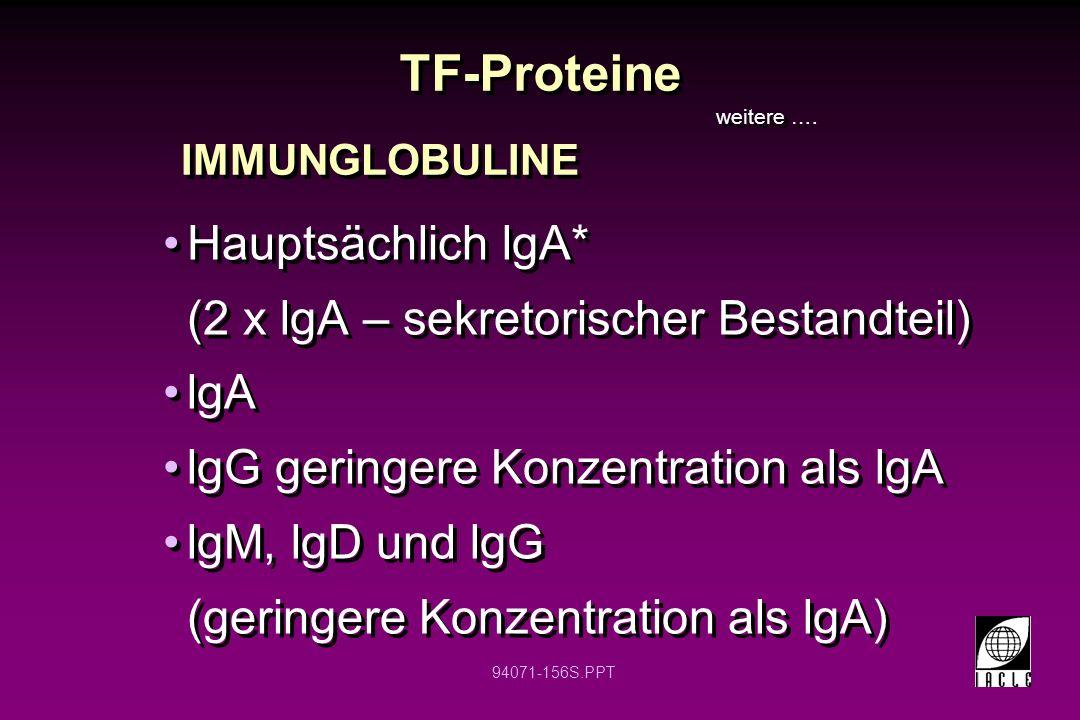TF-Proteine Hauptsächlich lgA* (2 x lgA – sekretorischer Bestandteil)