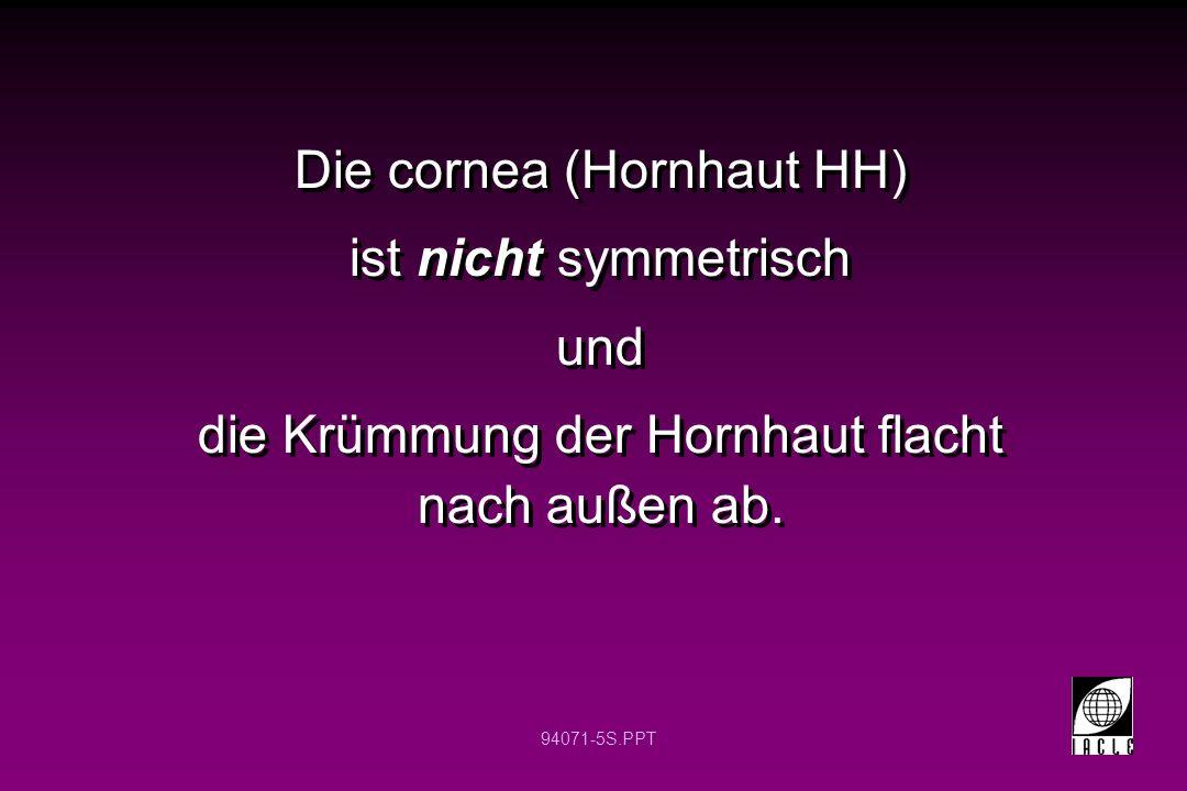 Die cornea (Hornhaut HH) ist nicht symmetrisch und