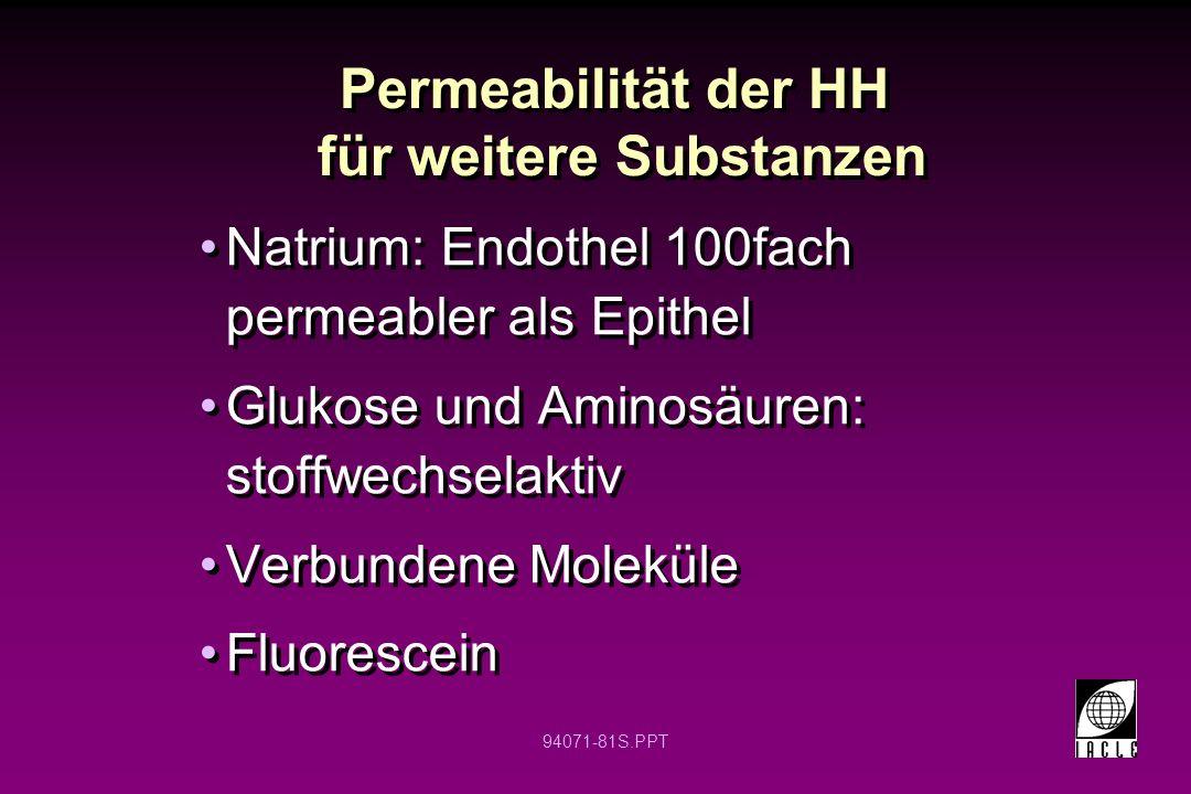 Permeabilität der HH für weitere Substanzen